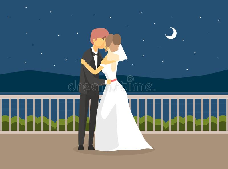 Wedding Day, Happy Just Married Couple, Romantic Bride and Groom Characters Embracing at Night Under the Stars Vector. Illustration, Flat Style vector illustration