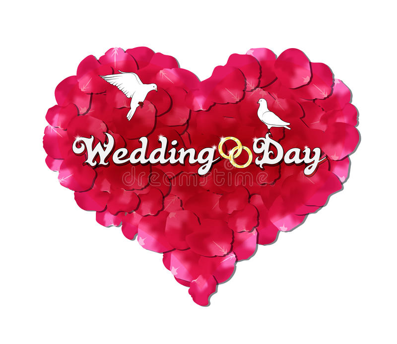 Wedding day. The heart of rose petals, doves and rings royalty free illustration