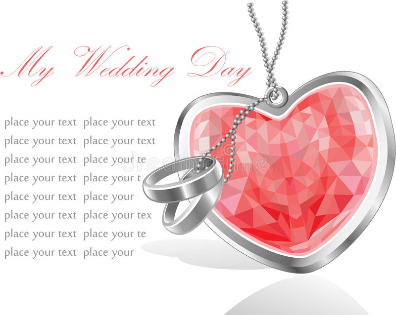 Wedding day invitation card with red diamond. Heart and rings royalty free illustration