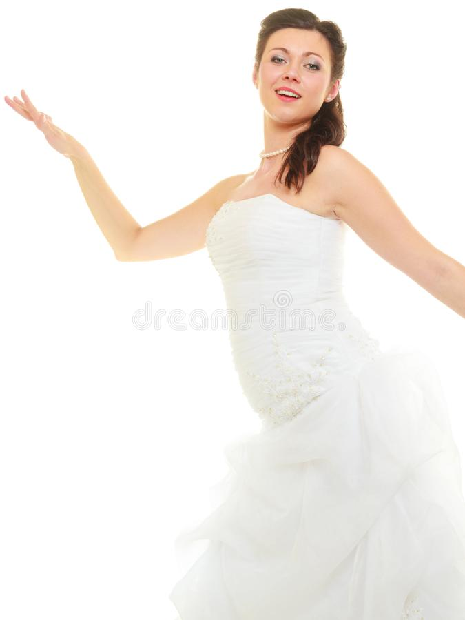 Happy bride with full makeup and wedding dress royalty free stock photography
