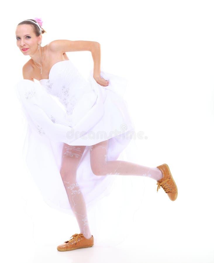 Wedding Day. Running Bride Isolated On White Background Stock Photos