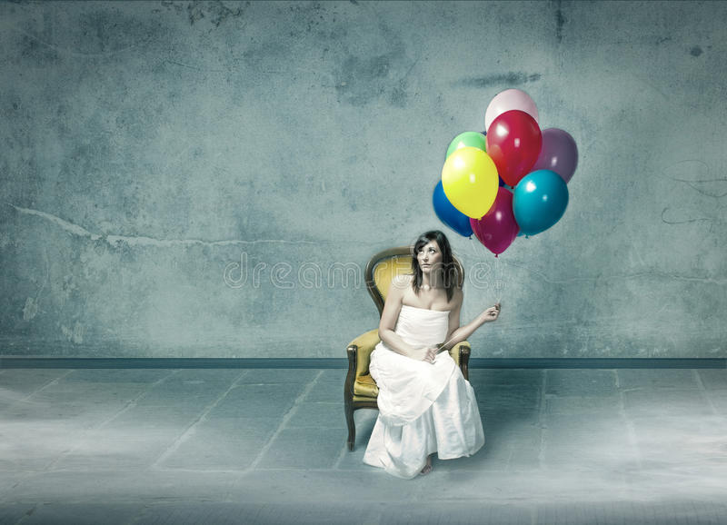 Wedding day sad for woman alone. Woman expression and emotion portrait stock images