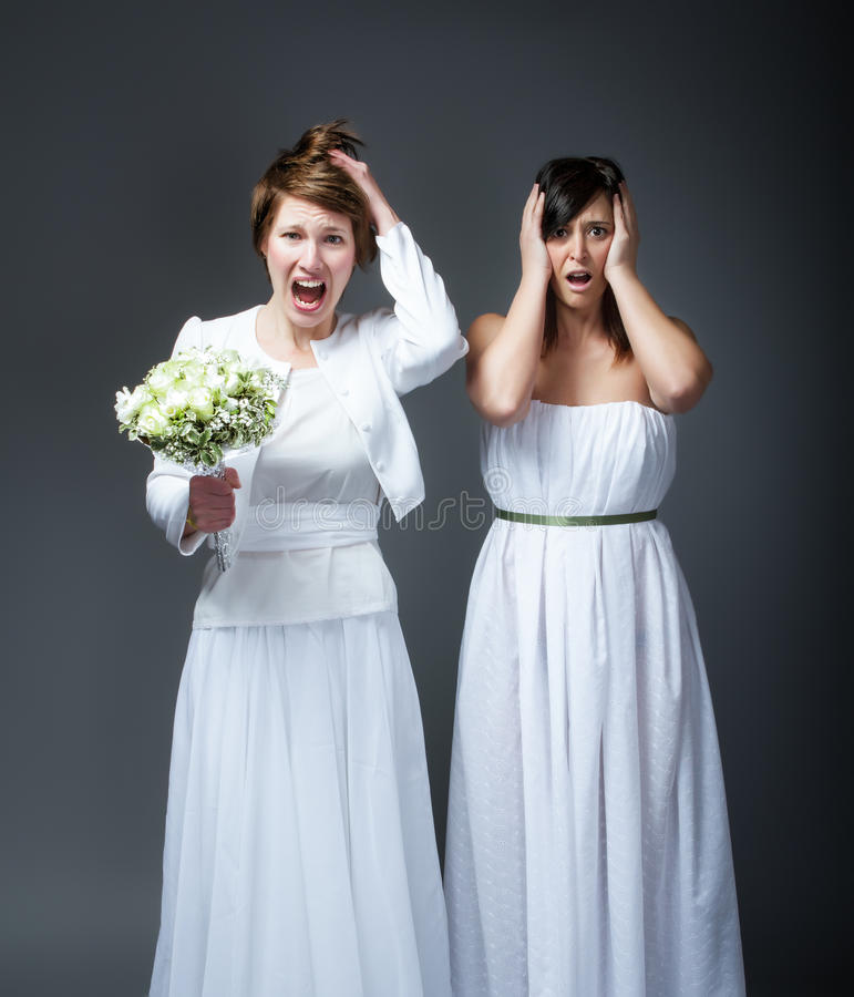 Wedding day unbelievable faces. Emotions and expressions for person royalty free stock photography