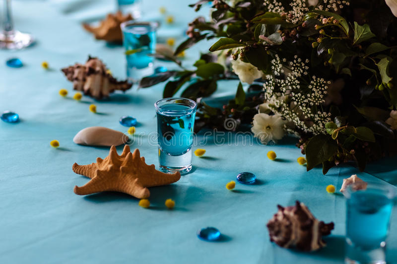 Wedding decor in blue colors, sea theme style. In a restaurant royalty free stock photos