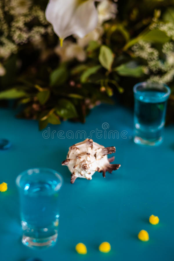 Wedding decor in blue colors, sea theme style. In a restaurant stock photo