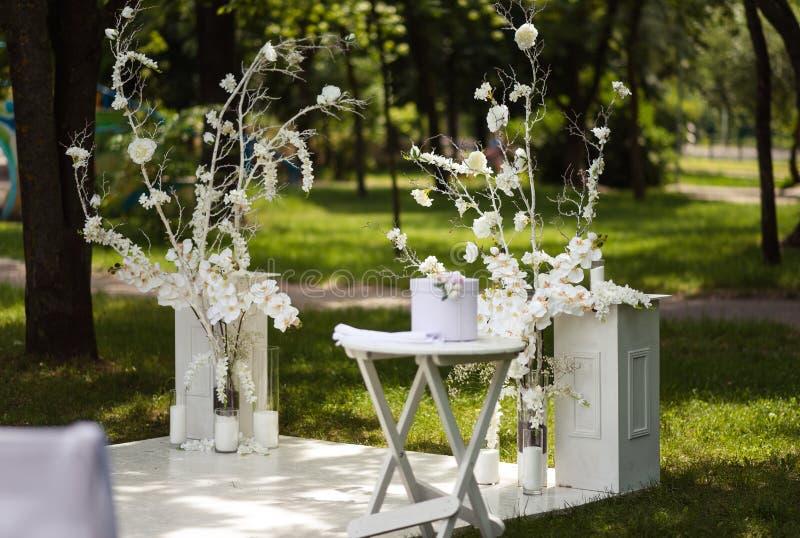 Wedding decor at the ceremony venue stock photos