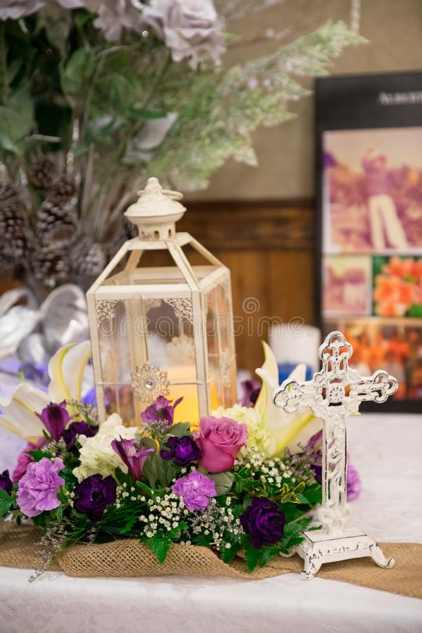 Wedding decor with cross and flowers stock image image of download wedding decor with cross and flowers stock image image of centerpieces lanterns junglespirit Images