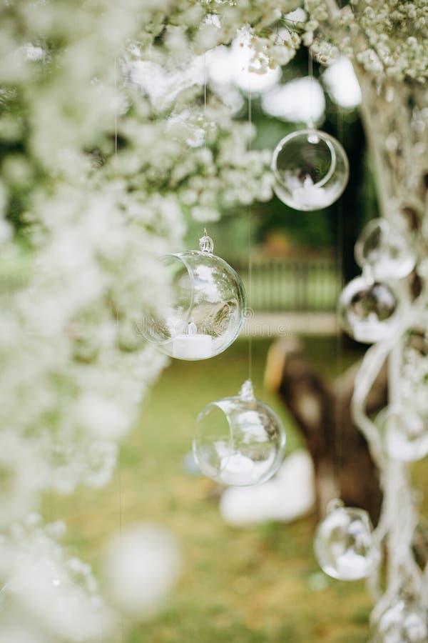Wedding decor flowers postcard ball glass hang royalty free stock image