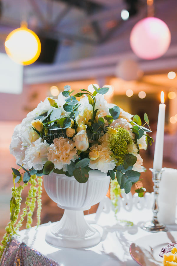 Download Wedding decor flowers stock photo. Image of classy, silverware - 71008288