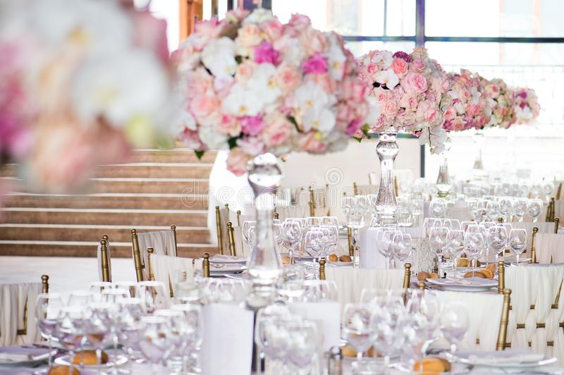 Wedding decor in the restaurant royalty free stock photos