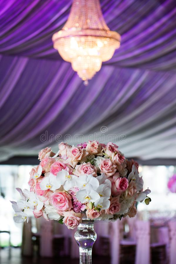 Wedding decor in the restaurant royalty free stock photography