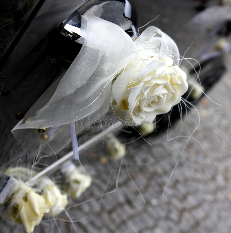 Wedding decorated car. royalty free stock images