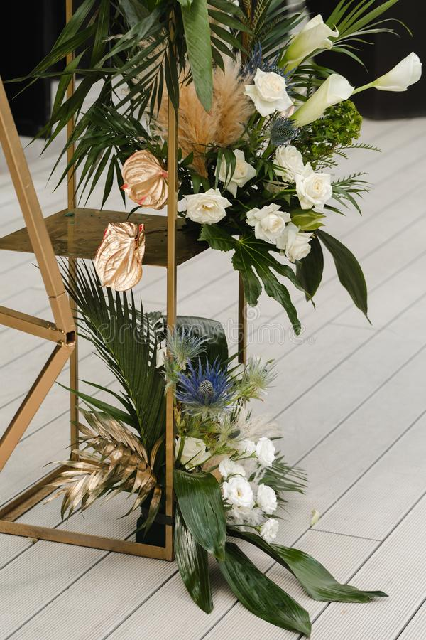 Wedding decoration. Flowers on a frame stock image