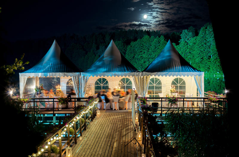 Wedding decoration at night under the moon stock images