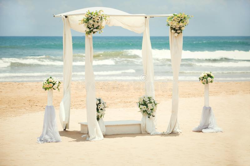 Wedding decorations on the beach. Of the Indian Ocean, Bentota, Sri Lanka royalty free stock photos