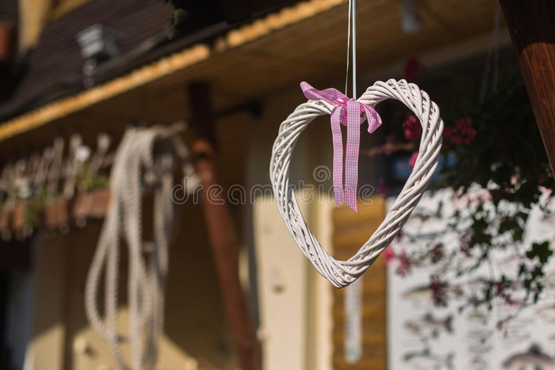 Wedding decorations hang on the roof stock photo