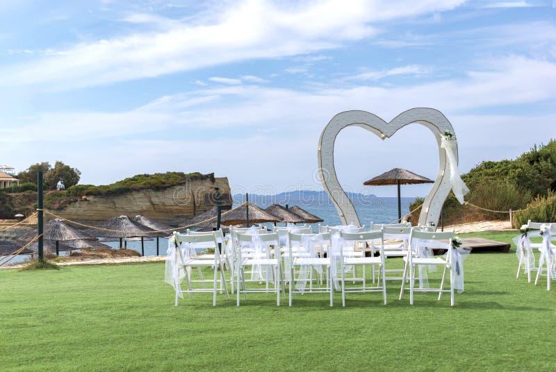 Wedding decorations on Sidari beach near the D`Amour Canal on Corfu island, Greece royalty free stock image