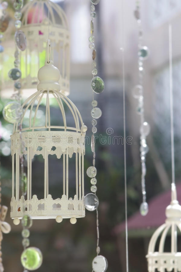 wedding decorative birdcage with flowers on natural back royalty free stock photos