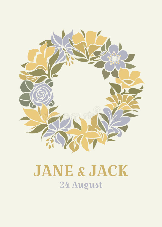 Wedding design with floral wreath royalty free illustration