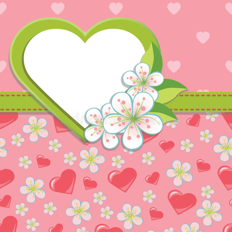 Wedding Design template.Cherry flowers and hearts. Spring or summer background.Cherry Flowers or Apple Flowers in abstract background.Label in the form of heart vector illustration