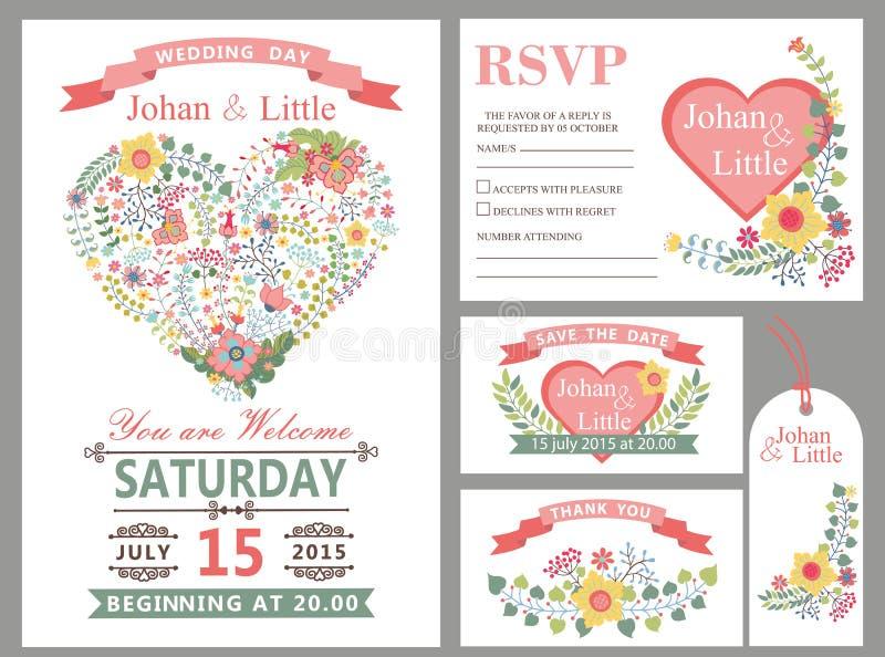 Wedding design template set.Floral heart decor vector illustration