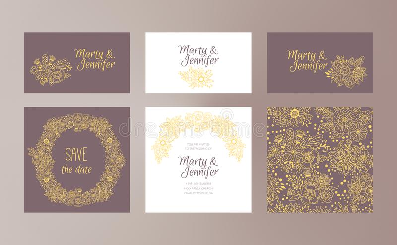 Wedding design vector template set with hand drawn floral ornaments royalty free illustration