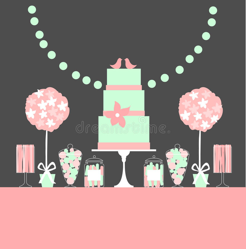 Wedding dessert bar with cake and flowers. royalty free illustration