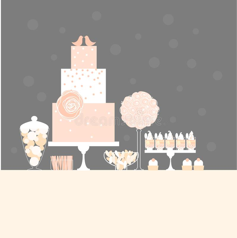 Wedding dessert bar with cake. Sweet table. vector illustration