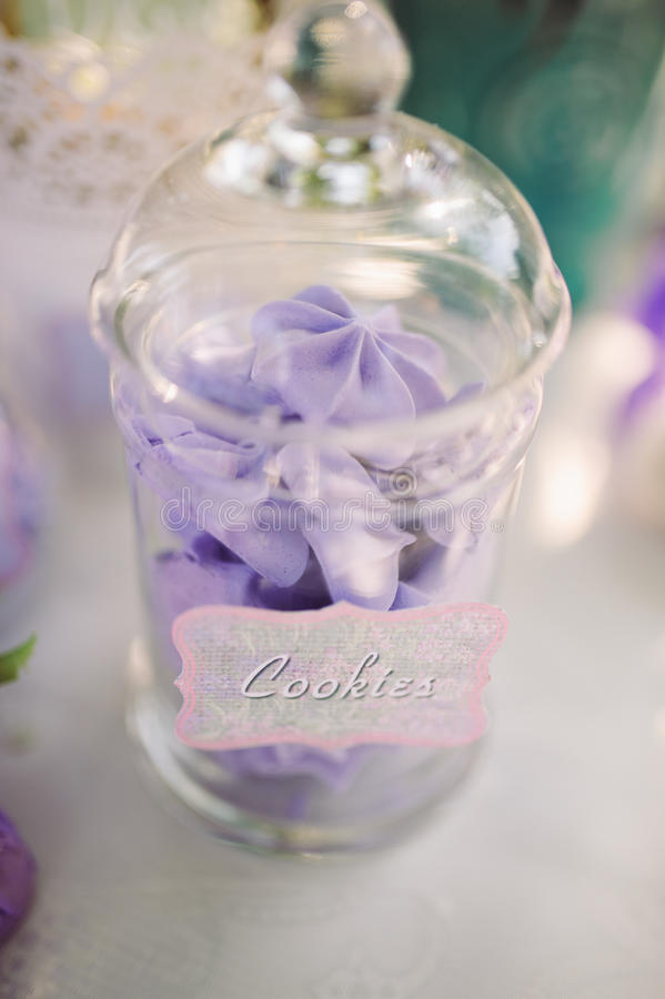 Wedding dessert. With delicious cakes and macaroons royalty free stock images