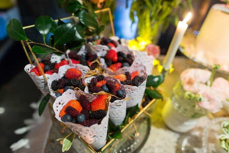 Wedding dessert. S at indoor wedding party royalty free stock photo