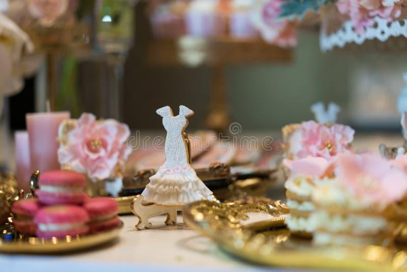 Wedding dessert. S at an indoor wedding party stock image