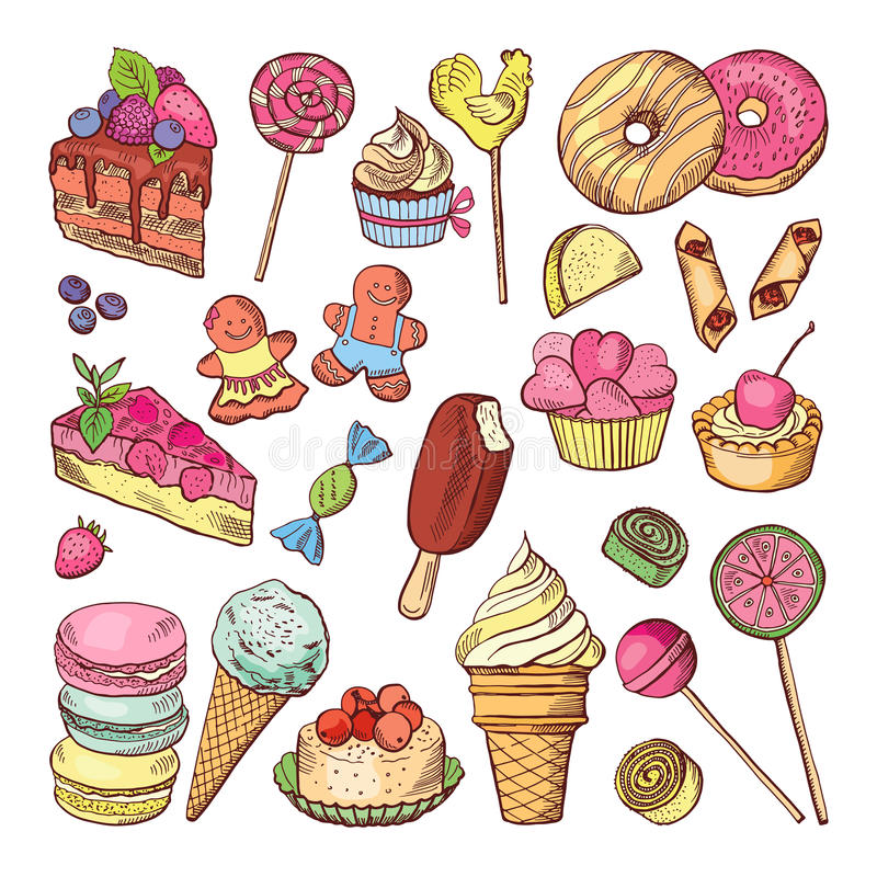 Wedding desserts, sweets cupcakes and ice cream in hand drawn style. Coloring doodle vector collection. Ice cream and collection of colored cake to birthday royalty free illustration