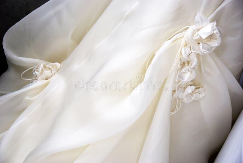 Wedding detail. A detail of wedding dress stock photos