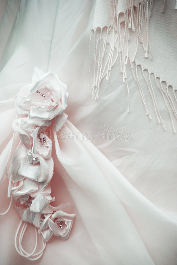 Wedding detail. A detail of wedding pink dress stock image