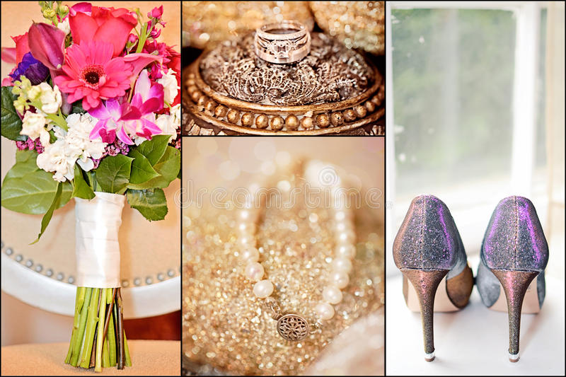Wedding collage. Collage of gold and silver wedding rings, bouquet flowers, bracelet and sparkle shoes. details stock photos