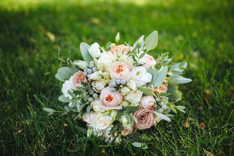 Wedding details. wedding bouquet of various flowers stock images