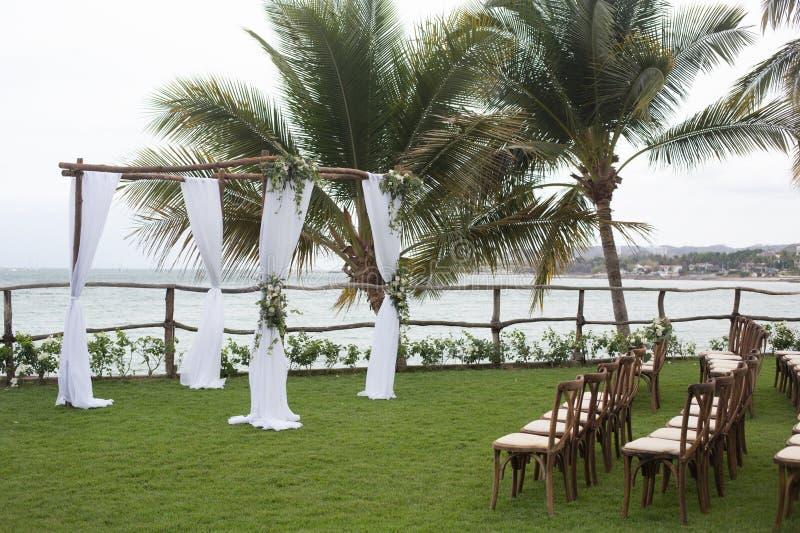 Wedding details at Martoca Beach Garden royalty free stock photography