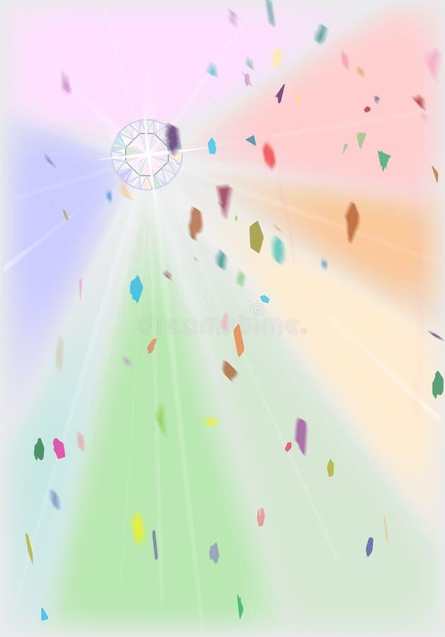 Wedding Diamond With Confetti. A wedding Confetti Background with a bright diamond inset stock illustration