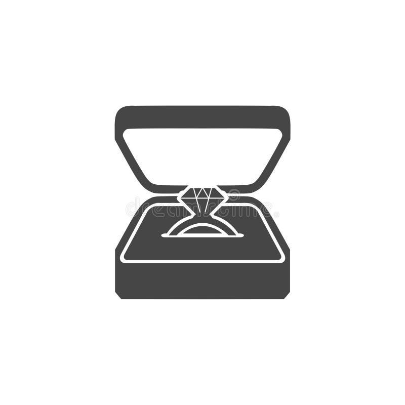 Wedding diamond ring in a box. Vector illustration royalty free illustration