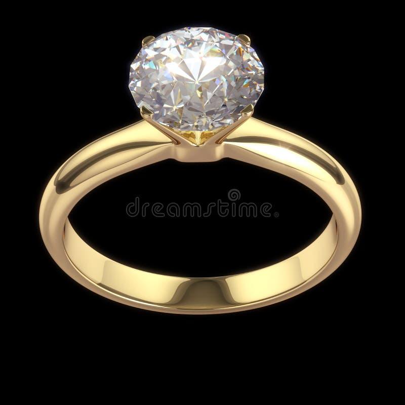 Wedding diamond ring isolated on black vector illustration