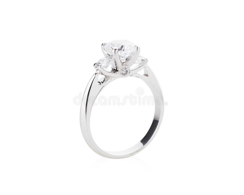 Wedding diamond ring isolated on a white background royalty free stock photo