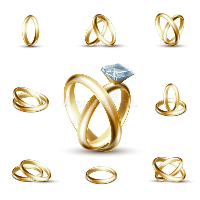 Wedding diamond ring vector illustration. Wedding rings and wedding diamond ring vector illustration. Golden ring with gemstone stock illustration