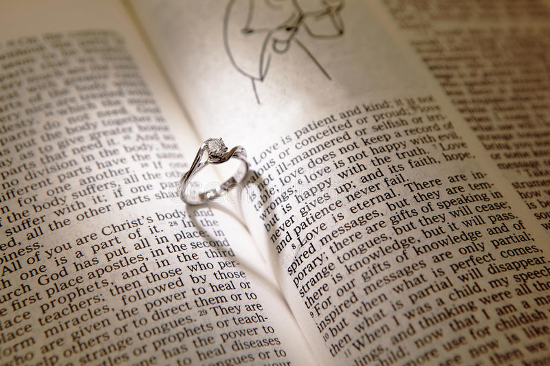Download Wedding Diamond Rings On A Bible Stock Image - Image: 23416443