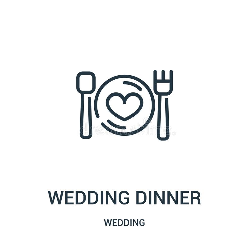 wedding dinner icon vector from wedding collection. Thin line wedding dinner outline icon vector illustration. Linear symbol for royalty free illustration