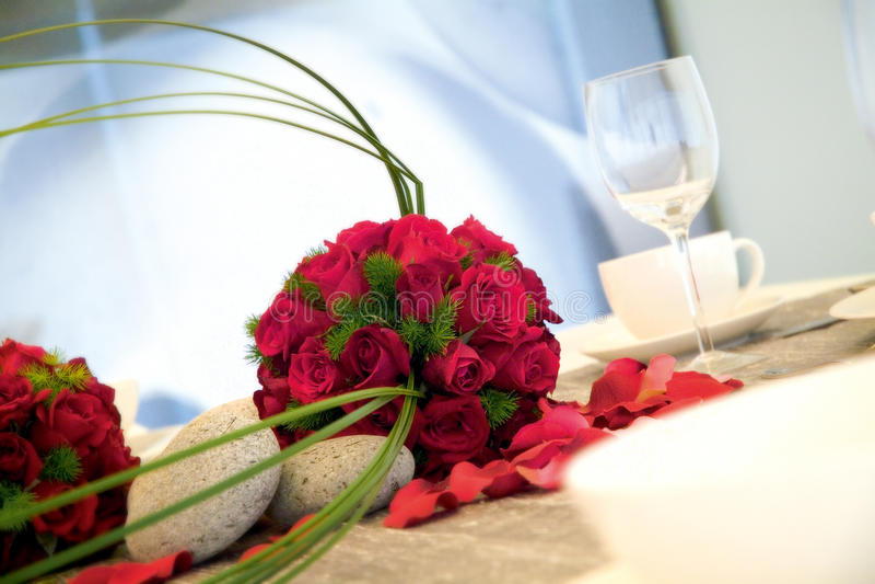 Wedding dinner reception table stock image