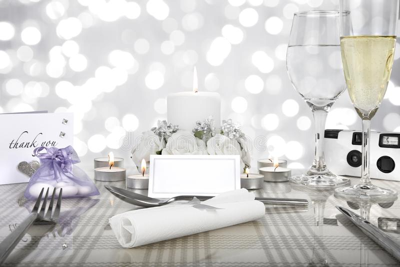 Wedding dinner table setting stock photo