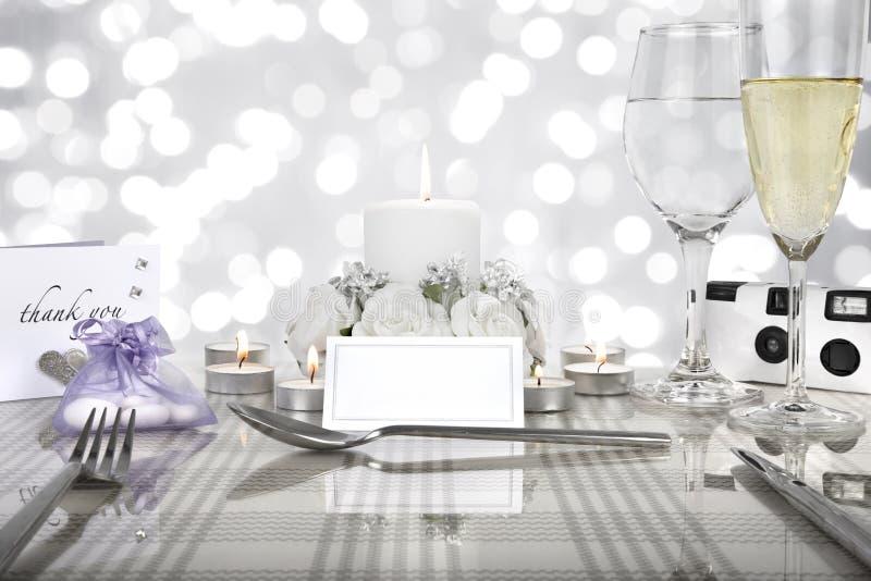 Wedding dinner table setting stock photos