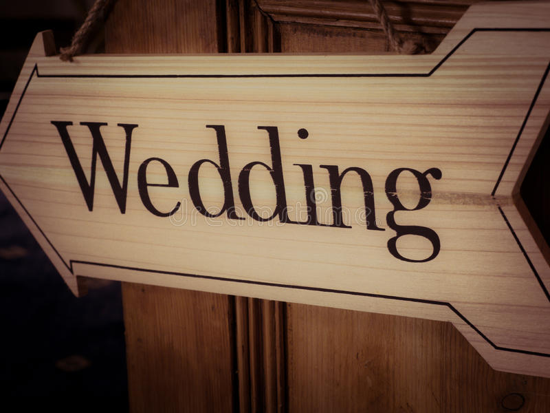 Wedding direction arrow stock photo