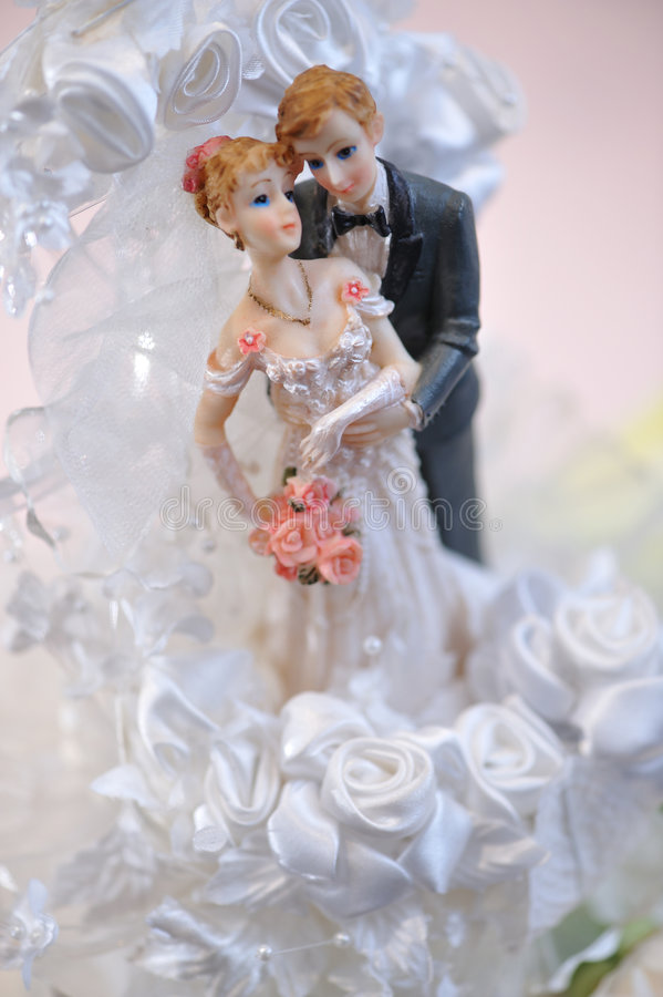 Wedding doll. Close up on a pair of wedding doll royalty free stock photos