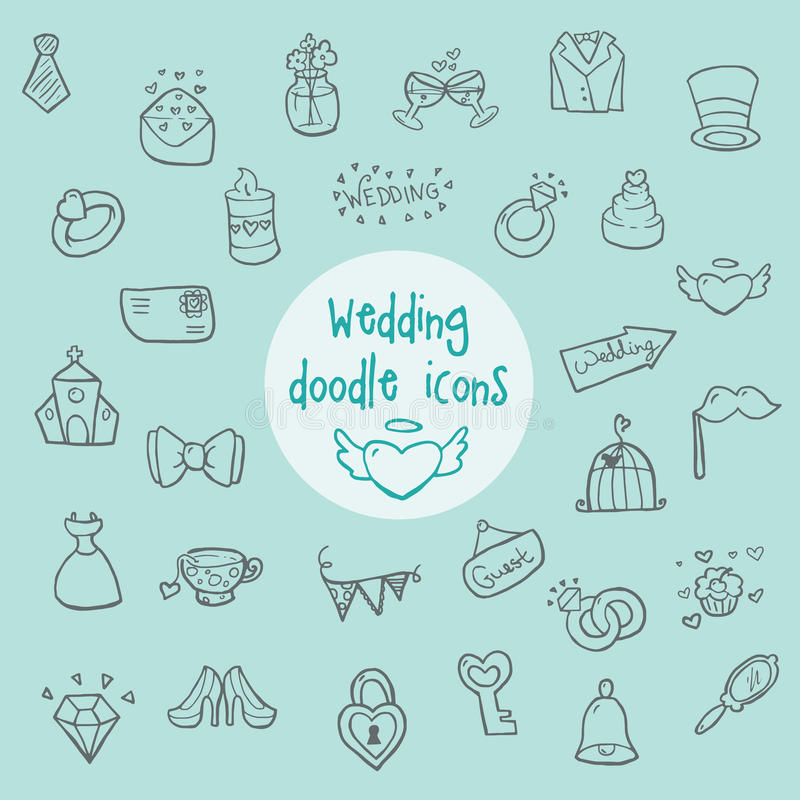 Wedding - doodle icons stock images